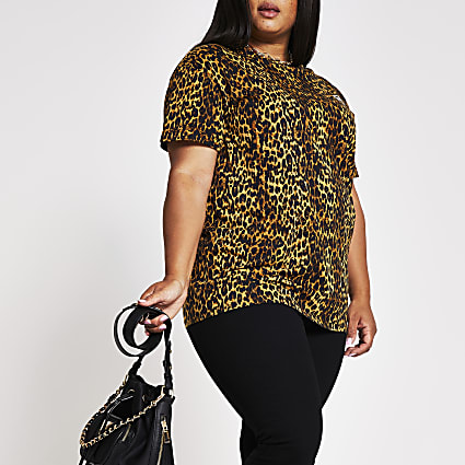Plus brown animal print RR t-shirt