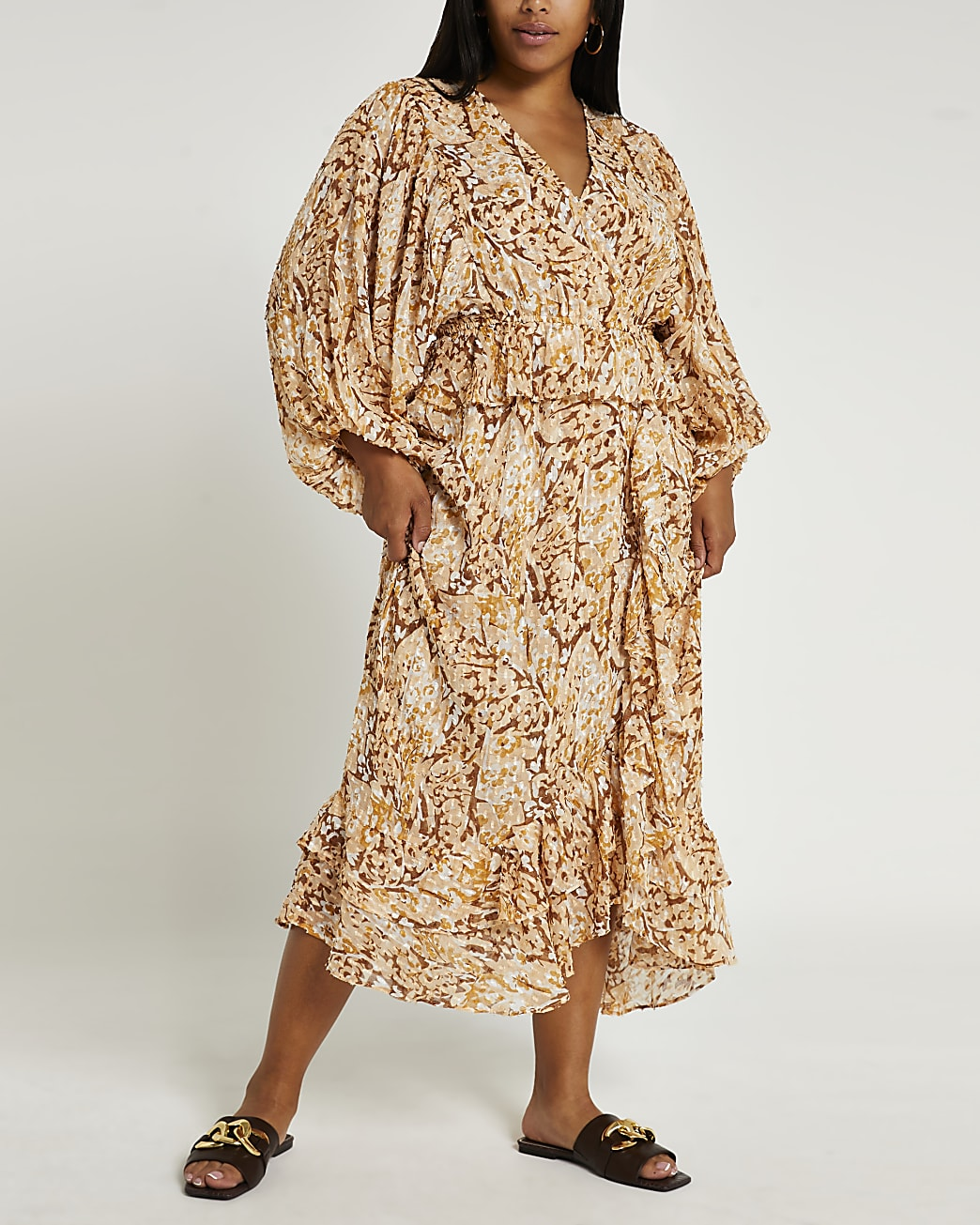 Plus brown animal print ruffled maxi dress