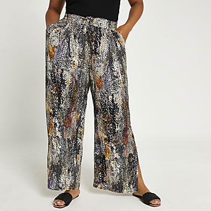 Plus brown animal print wide leg trousers