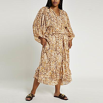 Plus brown animal print wrap dress