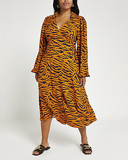 Plus brown animal print wrap midi dress