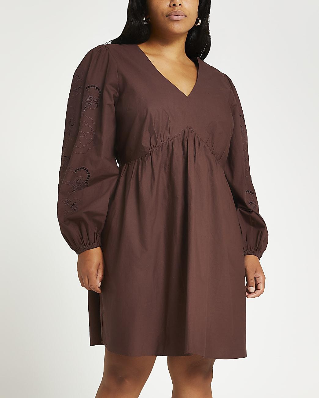 Plus brown broderie long sleeve mini dress