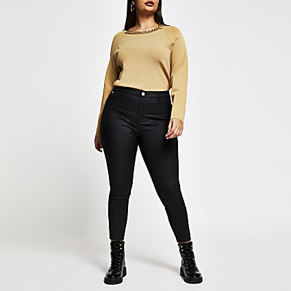 Plus brown chain choker ribbed top