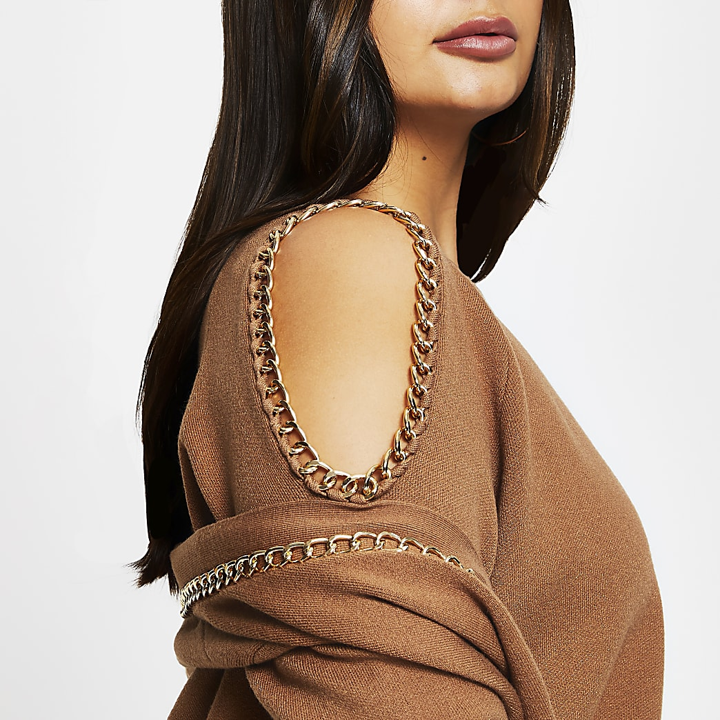 Plus brown chain cold shoulder jumper