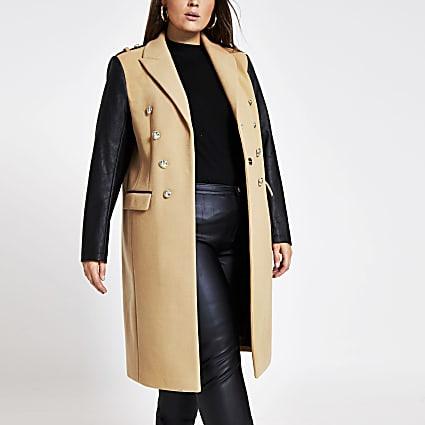 Plus brown colour blocked longline coat