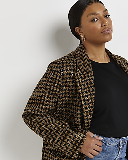 Plus brown dogtooth boucle oversized blazer