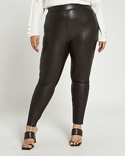 Plus brown faux leather skinny trousers