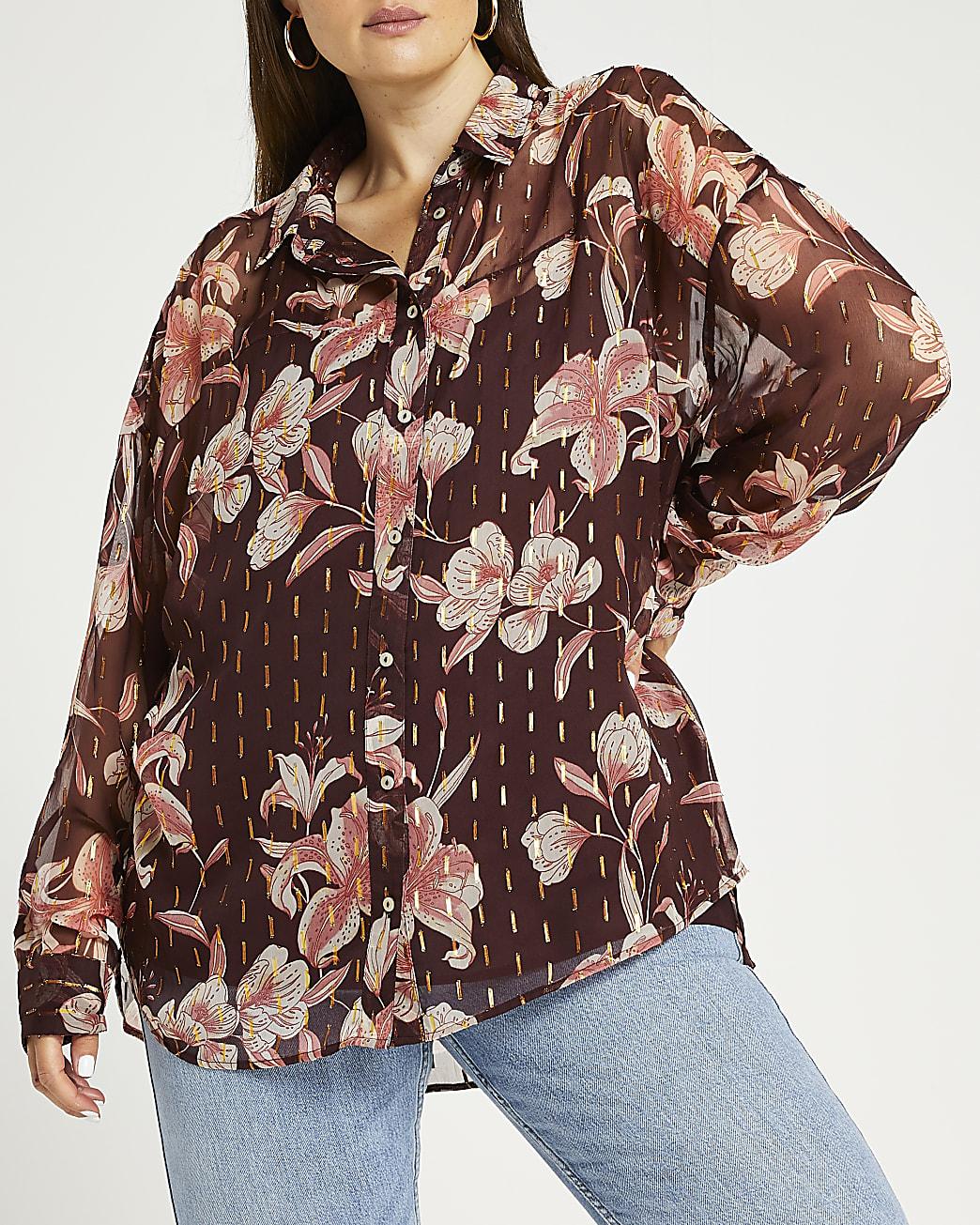 Plus brown floral print blouse