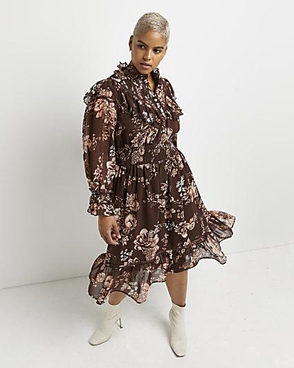 Plus brown floral shirred midi dress