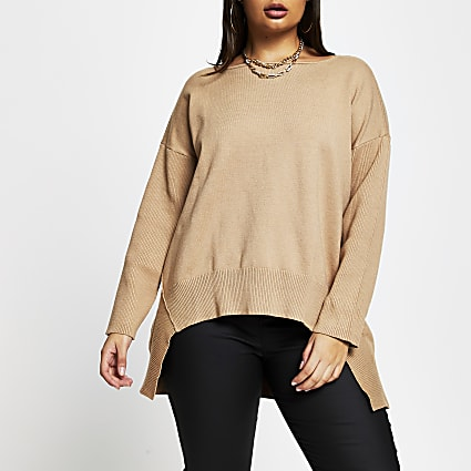 Plus brown high low hem jumper