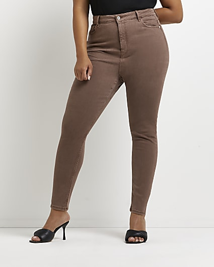 Plus brown high waisted skinny jeans