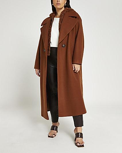Plus brown hooded duster coat