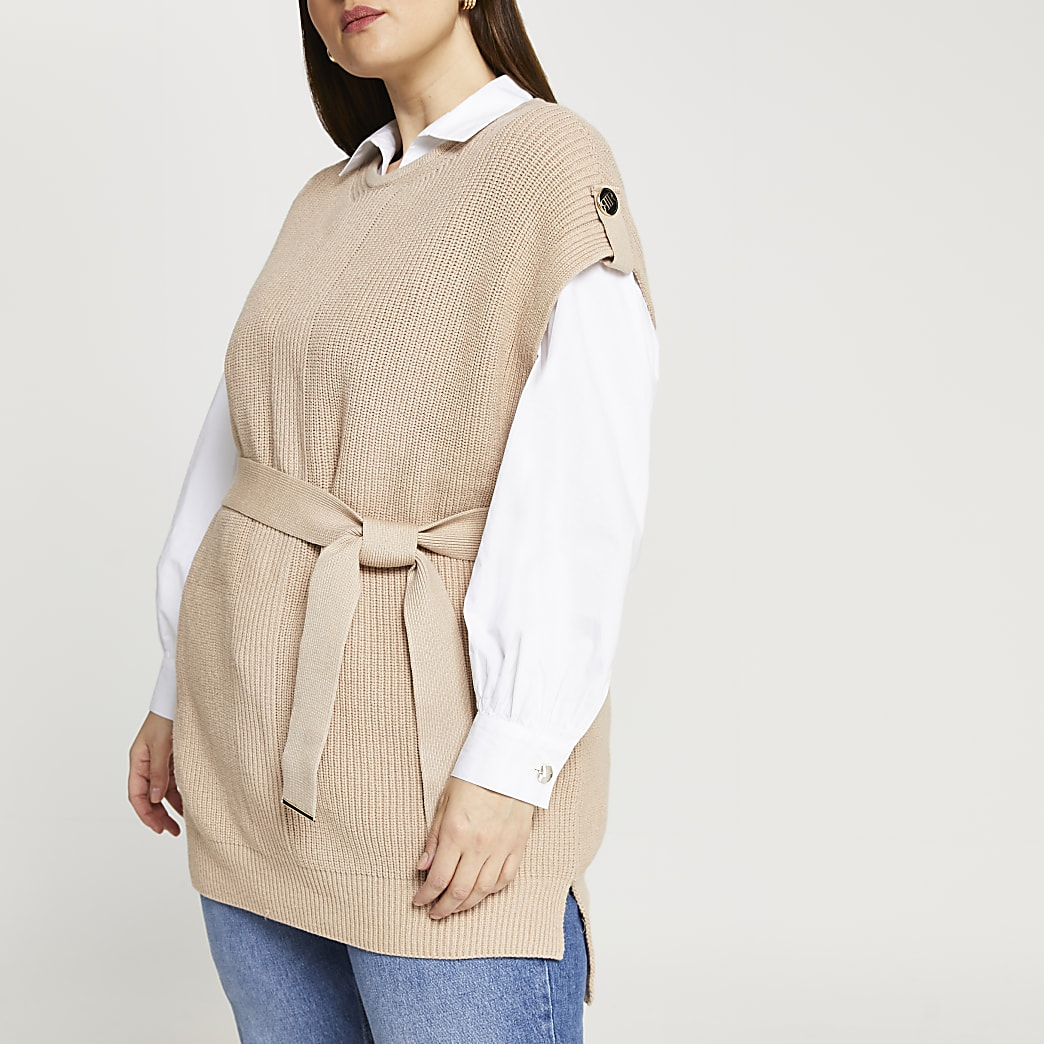 Plus brown knitted sleeveless belted jumper