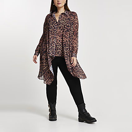 Plus brown leopard print frill shirt