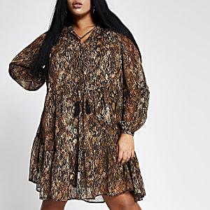 RI Plus - Bruine gesmokte mini-jurk met luipaardprint
