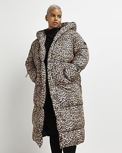 Plus brown leopard print puffer coat