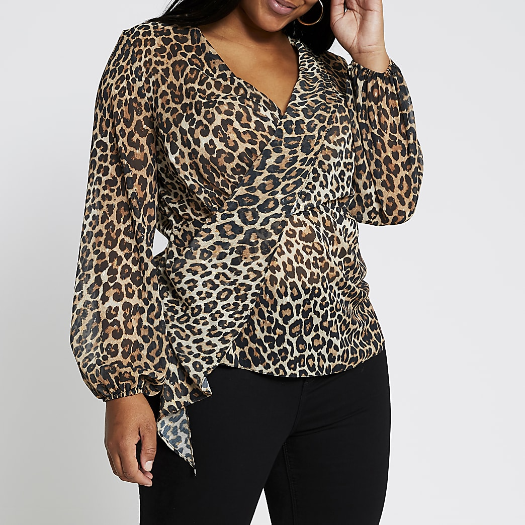 Plus brown long sleeve printed drape blouse