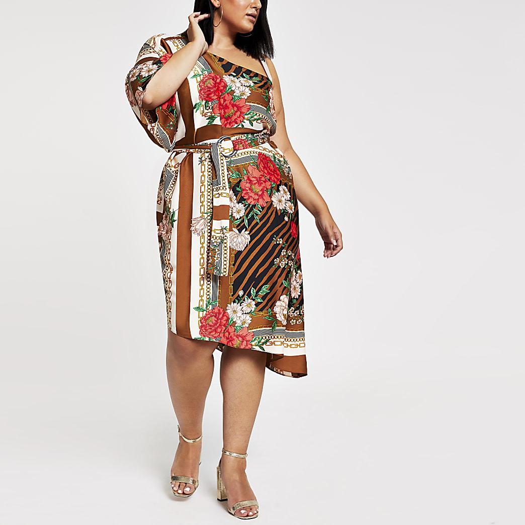 Plus brown print one shoulder midi dress