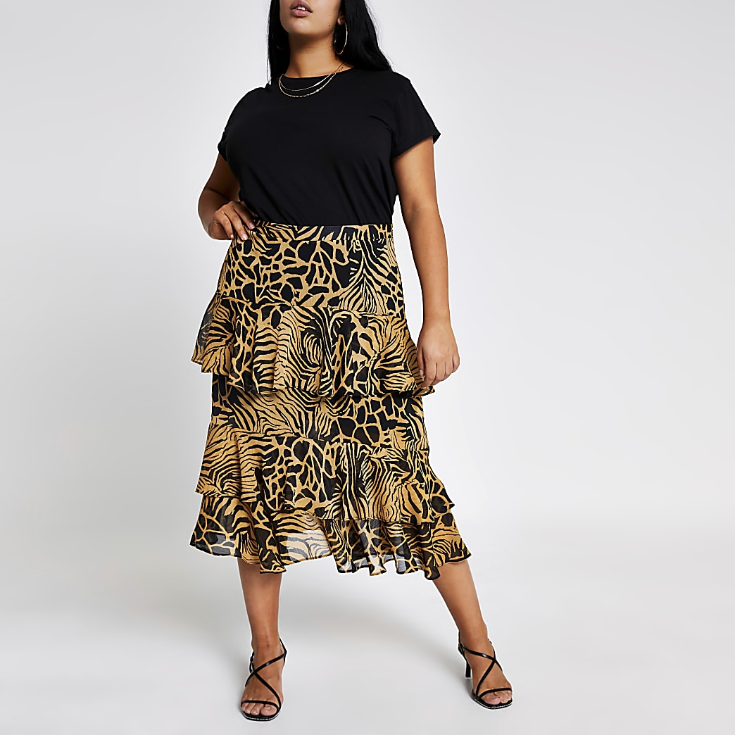 Plus brown printed tiered frill midi skirt