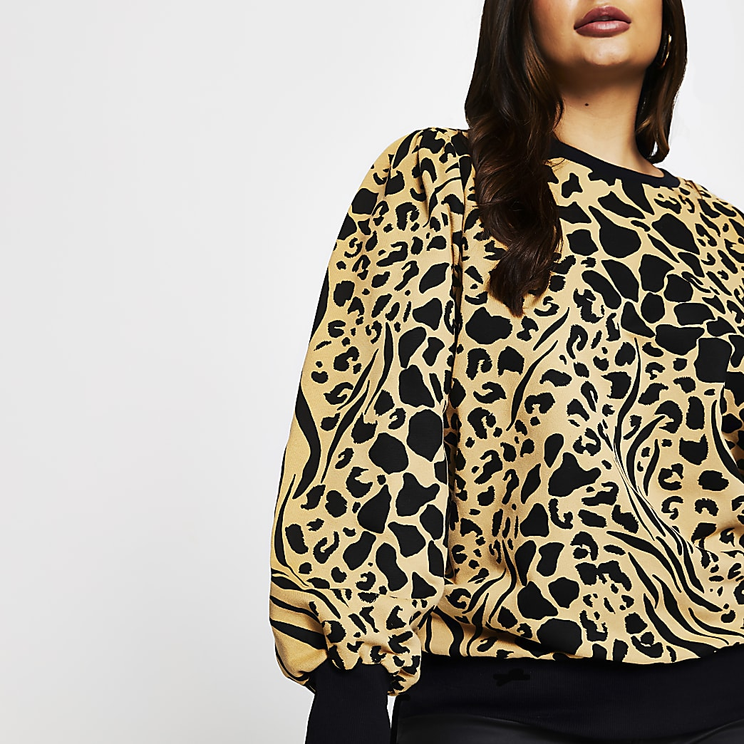 Plus brown puff sleeve printed sweatshirt