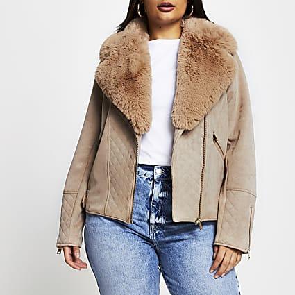 Plus brown quilted faux suede biker jacket