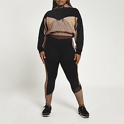 Plus brown RI Active monogram print leggings