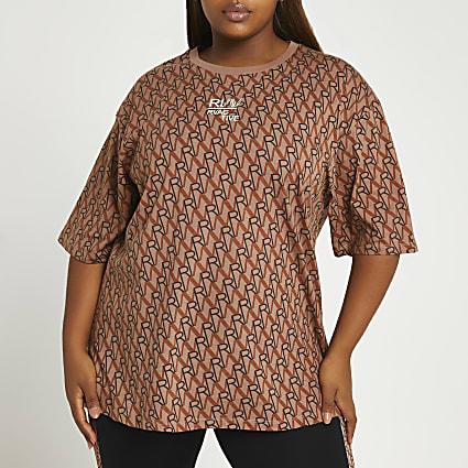 Plus brown RI Active oversized t-shirt
