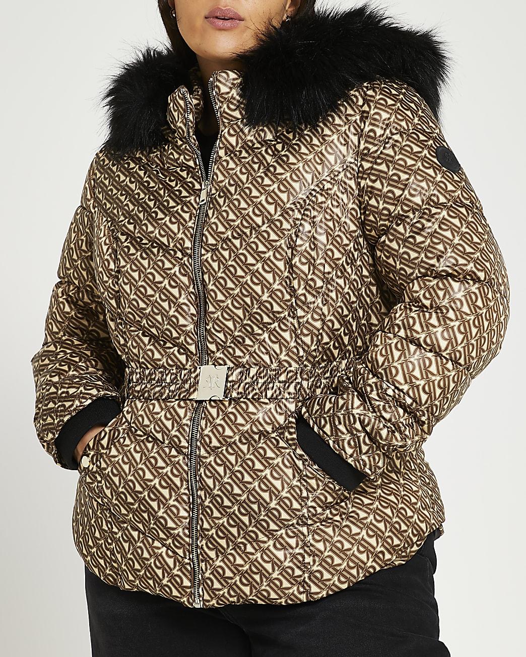 Plus brown RI monogram belted puffer coat