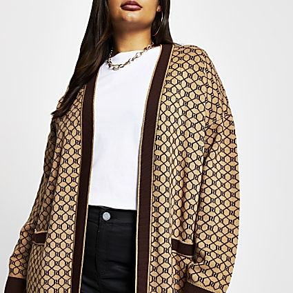Plus Brown RI monogram cardigan