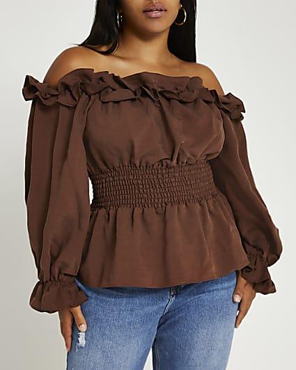 Plus brown ruffled bardot top