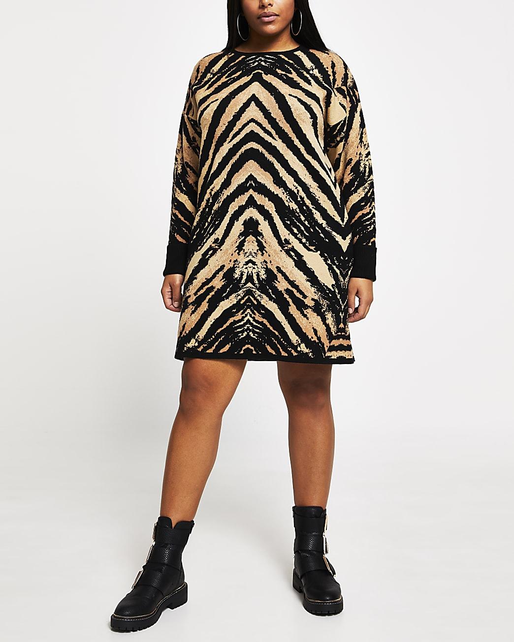 Plus brown tiger print jumper dress