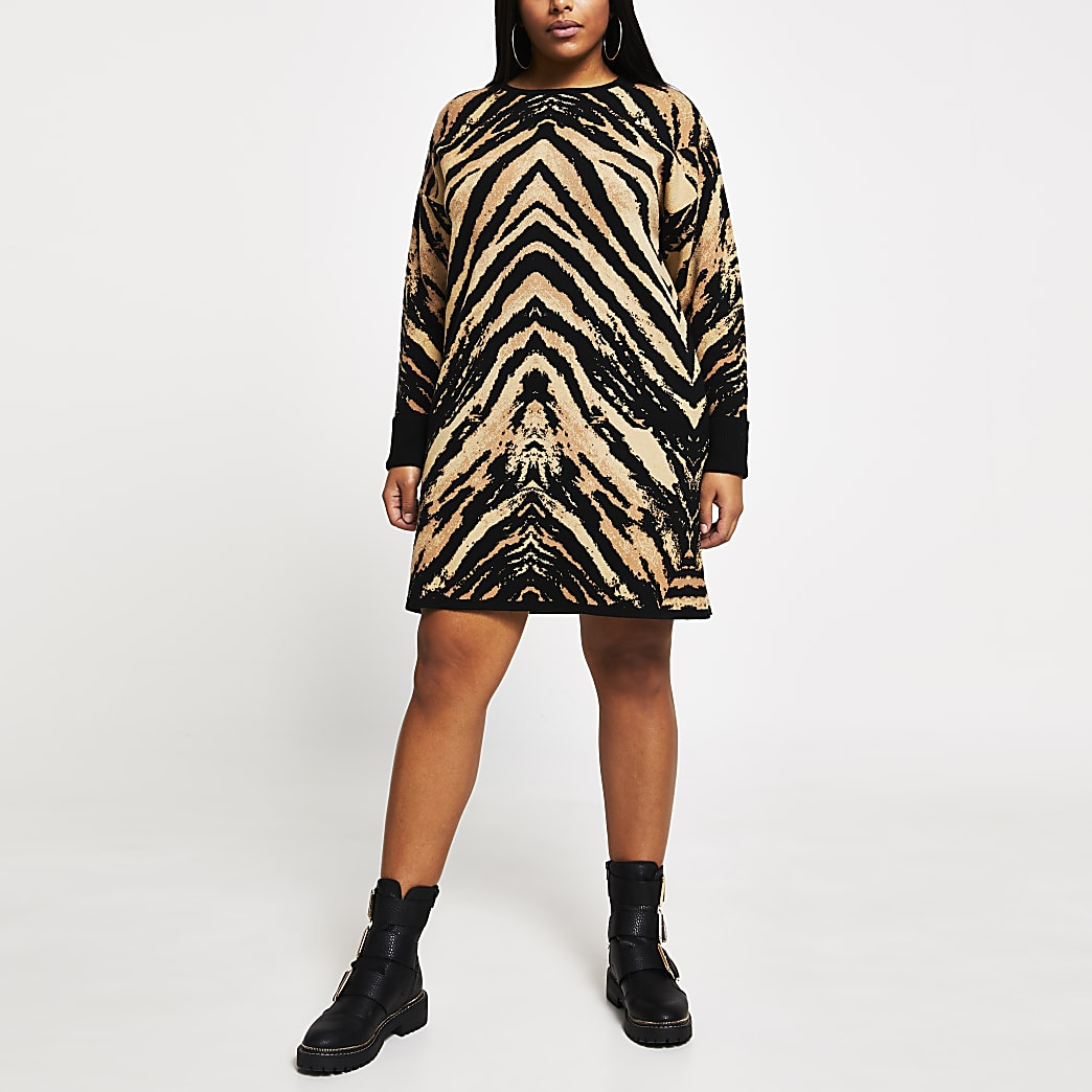 Plus brown tiger print jumper dress