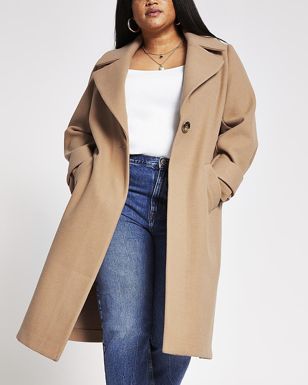 Plus camel long line cuff detail coat