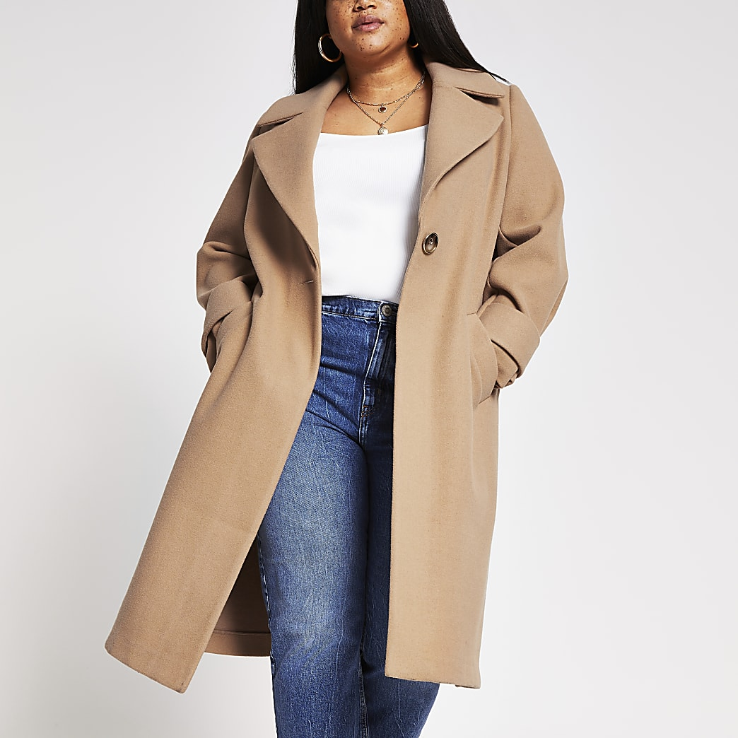 Plus camel long line cuff detail coat