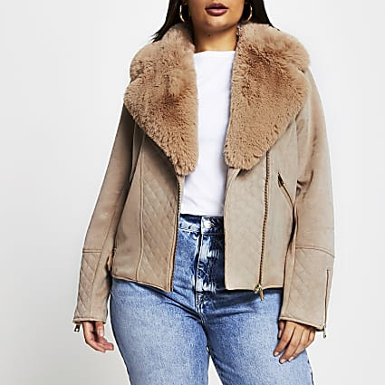 Plus camel quilted faux suede biker jacket