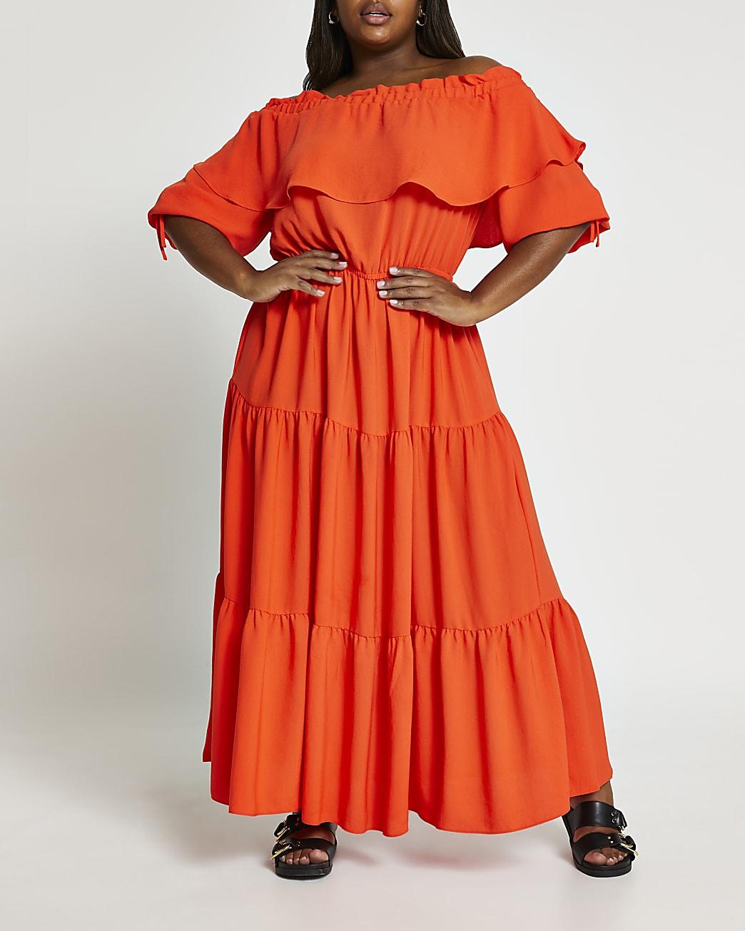 Plus coral bardot maxi dress