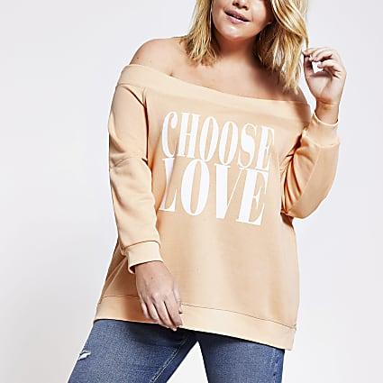 Plus coral 'Choose love' bardot sweatshirt