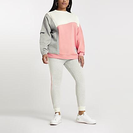 Plus coral colour block patch sweatshirt