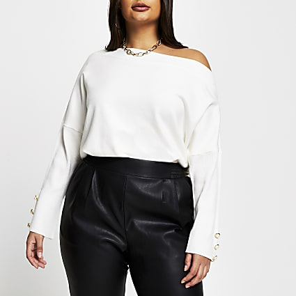 Plus cream asymmetrical long sleeve top