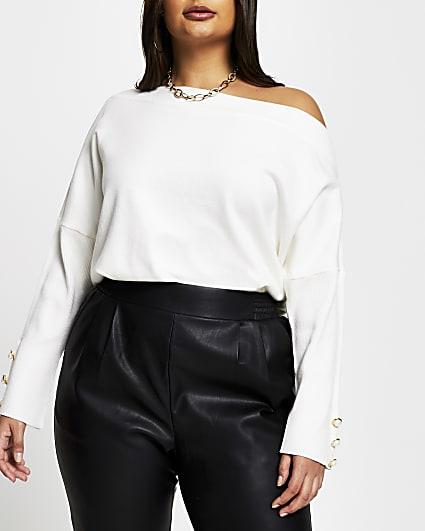 Plus cream asymmetrical long sleeve top