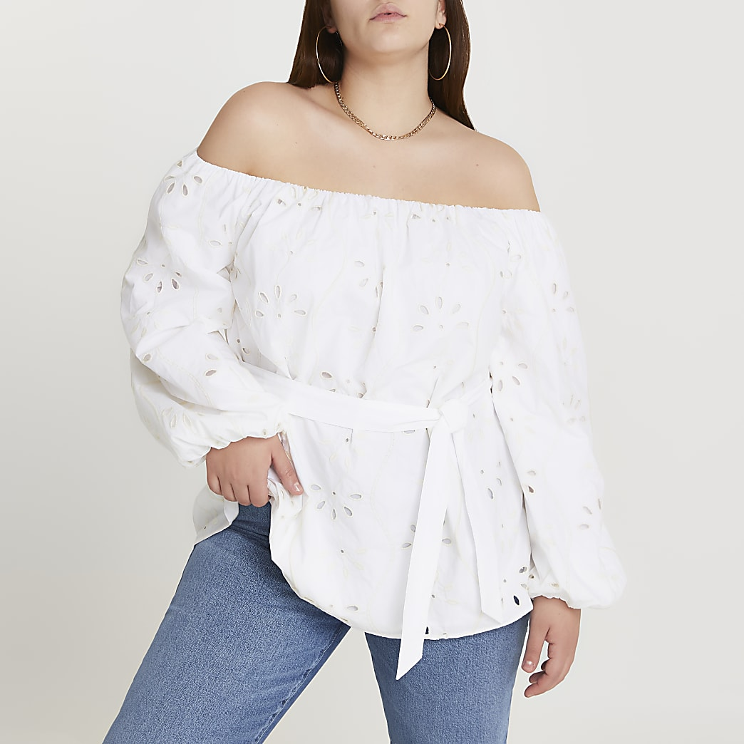 Plus cream broderie bardot top