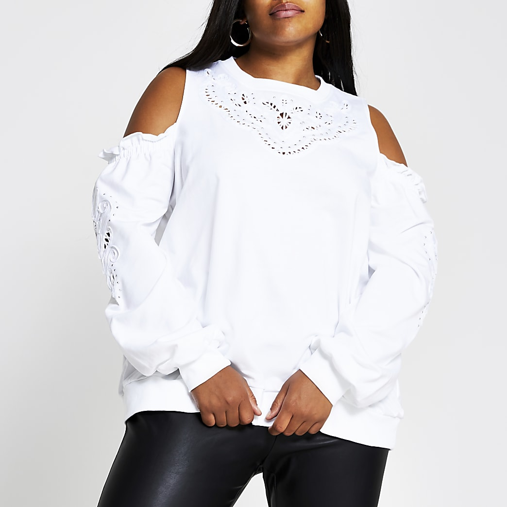 Plus cream broderie cold shoulder sweatshirt