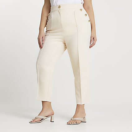 Plus cream button front peg trousers