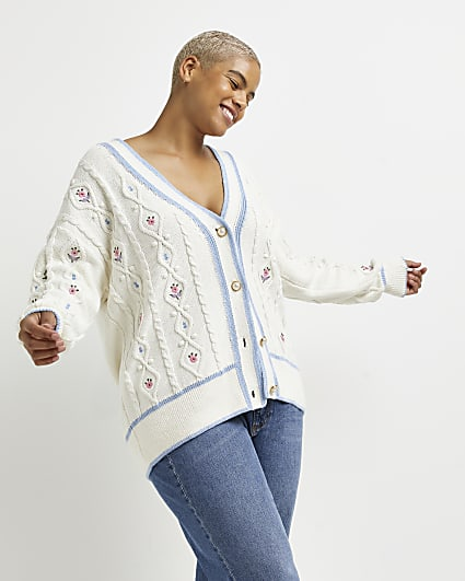 Plus cream embroidered cable knit cardigan