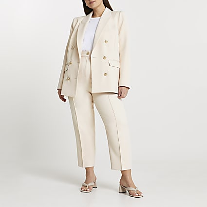 Plus cream fitted double breasted blazer