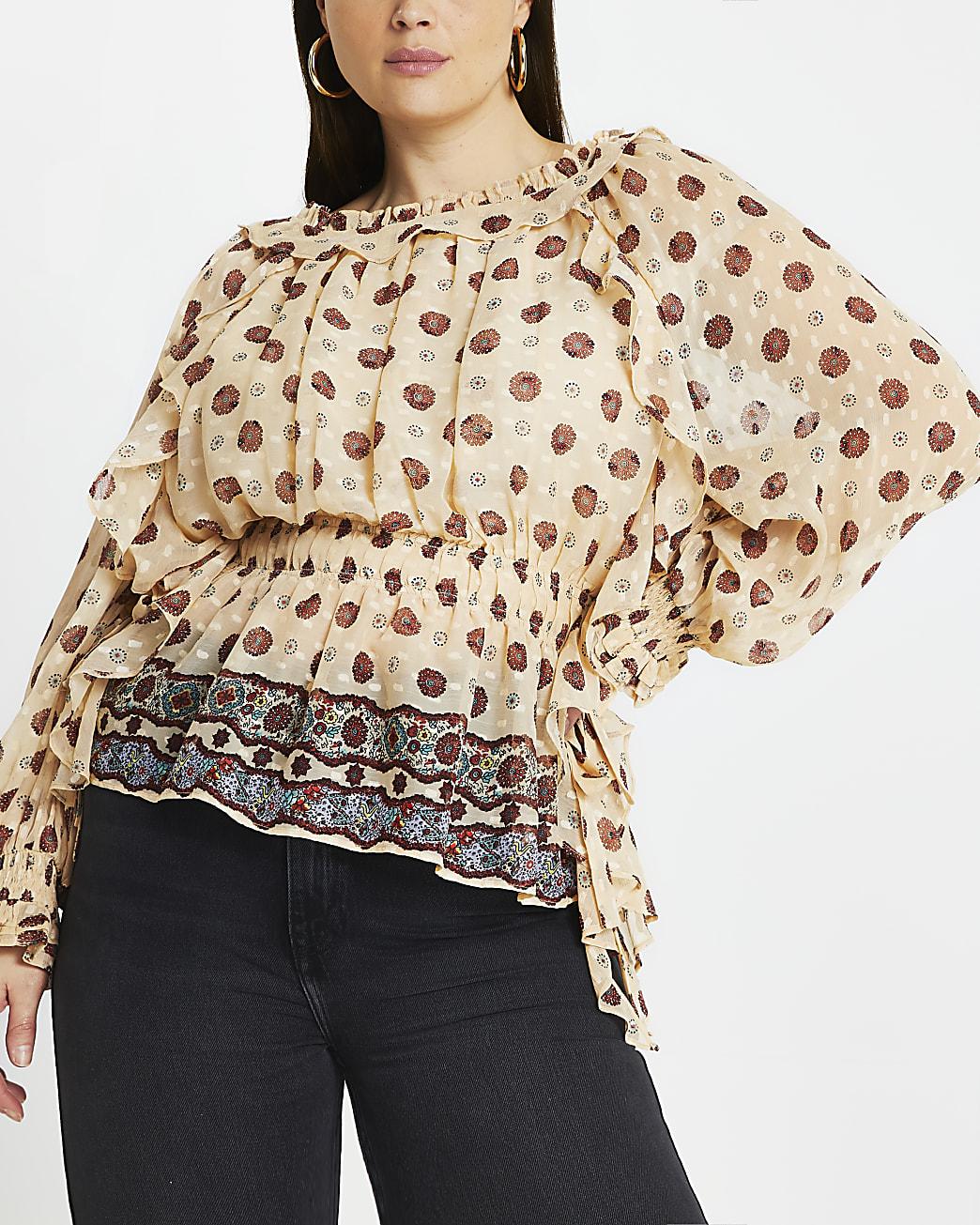 Plus Cream floral frill bardot blouse