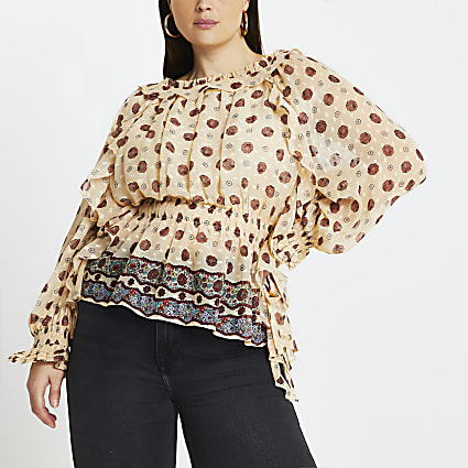 Plus Cream floral frill bardot blouse