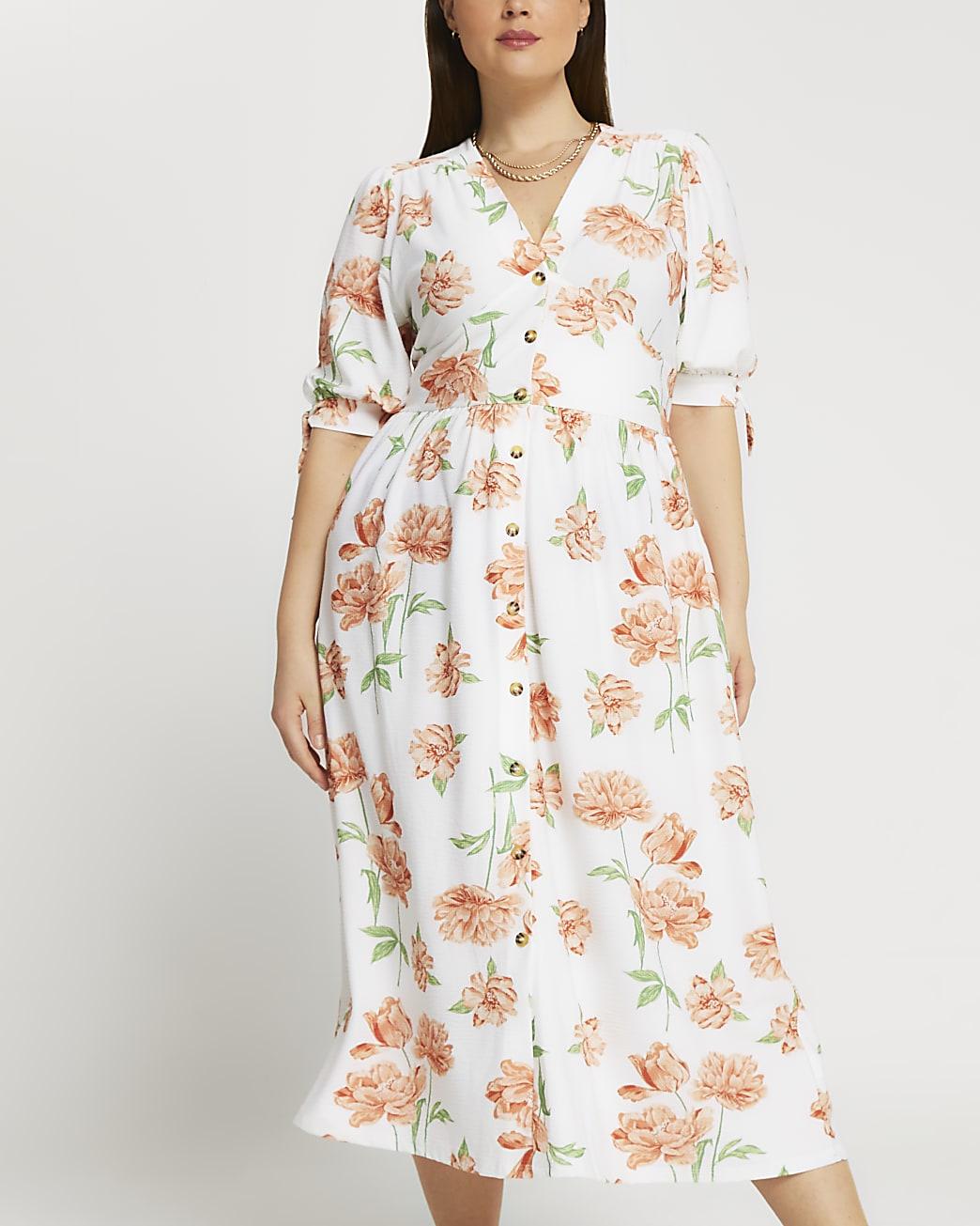 Plus cream floral printed midi dress