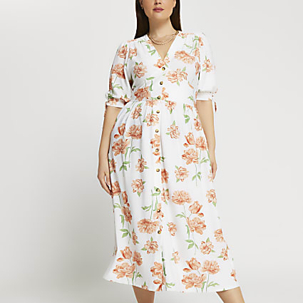 Plus cream floral printed midi dress