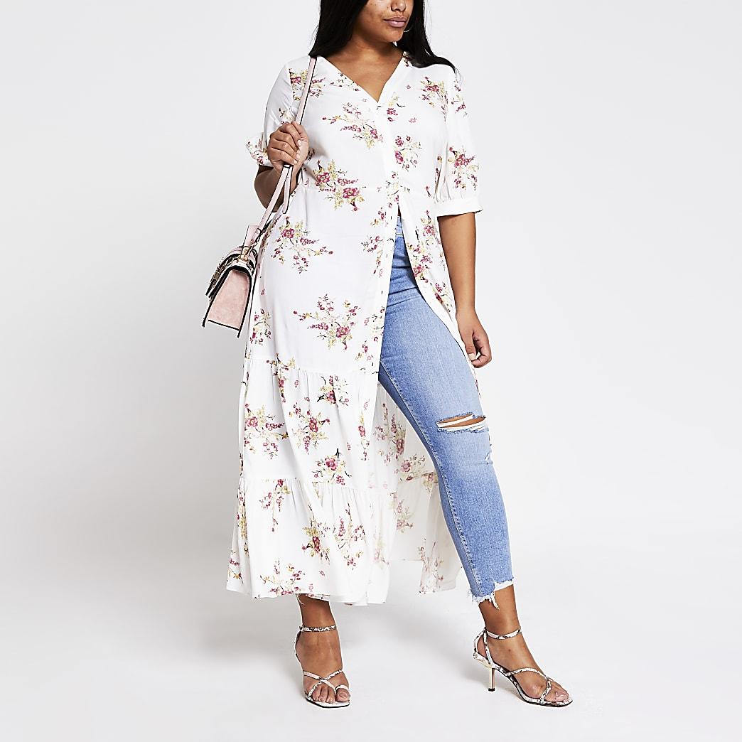 RI Plus - Crèmekleurige midi-jurk met bloemenprint en korte mouwen